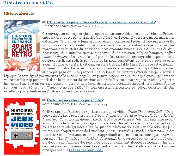 La grande liste de livres sur le jeu vidéo de Ludoscience