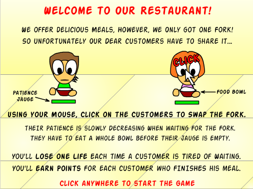 The One Fork Restaurant - Tutorial Screen